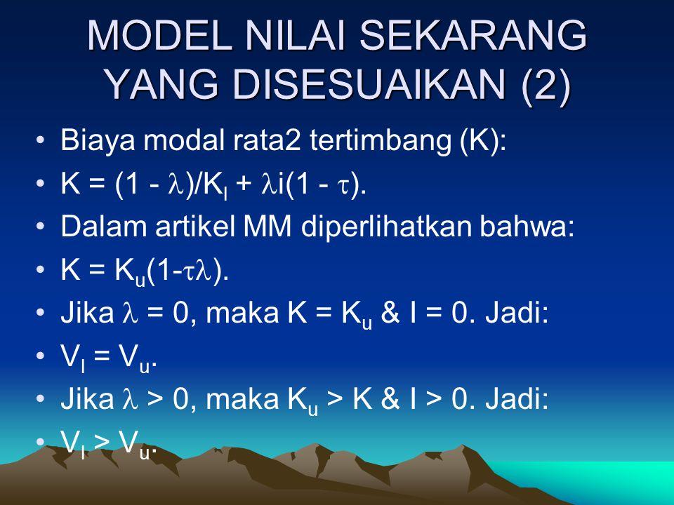 MODEL NILAI SEKARANG YANG DISESUAIKAN (2) Biaya modal rata2 tertimbang (K): K = (1 - )/K l + i(1 -  ). Dalam artikel MM diperlihatkan bahwa: K = K u