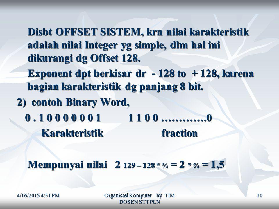 4/16/2015 4:52 PM4/16/2015 4:52 PM4/16/2015 4:52 PM Organisasi Komputer by TIM DOSEN STT PLN 10 Disbt OFFSET SISTEM, krn nilai karakteristik adalah nilai Integer yg simple, dlm hal ini dikurangi dg Offset 128.
