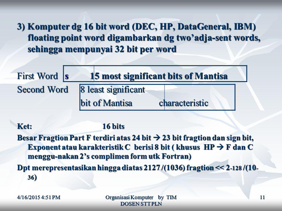 4/16/2015 4:52 PM4/16/2015 4:52 PM4/16/2015 4:52 PM Organisasi Komputer by TIM DOSEN STT PLN 11 3) Komputer dg 16 bit word (DEC, HP, DataGeneral, IBM) floating point word digambarkan dg two'adja-sent words, sehingga mempunyai 32 bit per word First Word s 15 most significant bits of Mantisa Second Word 8 least significant bit of Mantisa characteristic bit of Mantisa characteristic Ket: 16 bits Besar Fragtion Part F terdiri atas 24 bit  23 bit fragtion dan sign bit, Exponent atau karakteristik C berisi 8 bit ( khusus HP  F dan C menggu-nakan 2's complimen form utk Fortran) Dpt merepresentasikan hingga diatas 2127 /(1036) fragtion << 2 -128 /(10 - 36 )
