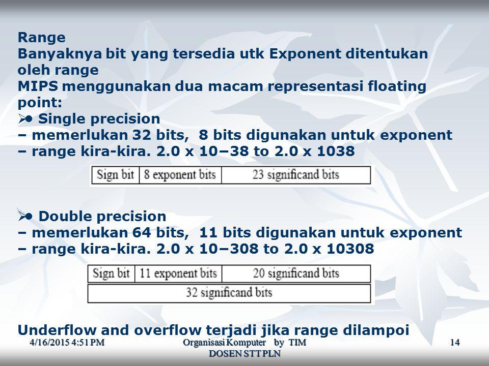 4/16/2015 4:52 PM4/16/2015 4:52 PM4/16/2015 4:52 PM Organisasi Komputer by TIM DOSEN STT PLN 14 Range Banyaknya bit yang tersedia utk Exponent ditentukan oleh range MIPS menggunakan dua macam representasi floating point:  Single precision – memerlukan 32 bits, 8 bits digunakan untuk exponent – range kira-kira.
