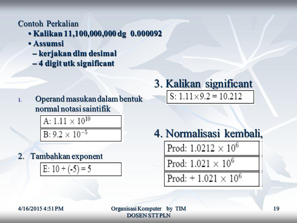 4/16/2015 4:52 PM4/16/2015 4:52 PM4/16/2015 4:52 PM Organisasi Komputer by TIM DOSEN STT PLN 19 Contoh Perkalian Kalikan 11,100,000,000 dg 0.000092 Assumsi – kerjakan dlm desimal – 4 digit utk significant 1.