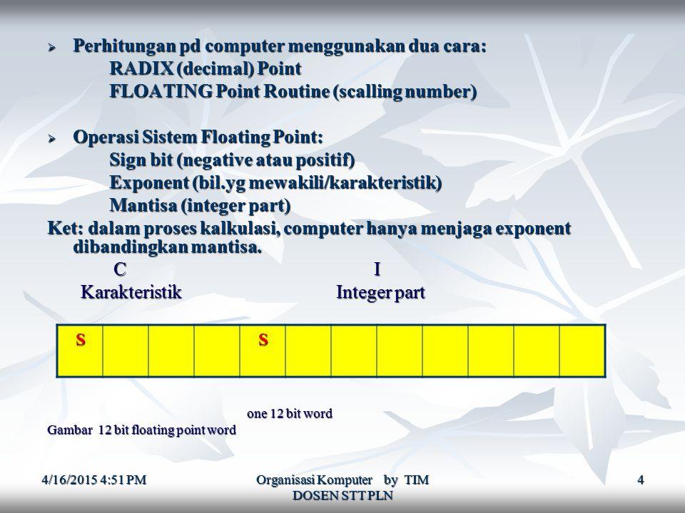4/16/2015 4:52 PM4/16/2015 4:52 PM4/16/2015 4:52 PM Organisasi Komputer by TIM DOSEN STT PLN 4  Perhitungan pd computer menggunakan dua cara: RADIX (decimal) Point RADIX (decimal) Point FLOATING Point Routine (scalling number) FLOATING Point Routine (scalling number)  Operasi Sistem Floating Point: Sign bit (negative atau positif) Sign bit (negative atau positif) Exponent (bil.yg mewakili/karakteristik) Exponent (bil.yg mewakili/karakteristik) Mantisa (integer part) Mantisa (integer part) Ket: dalam proses kalkulasi, computer hanya menjaga exponent dibandingkan mantisa.