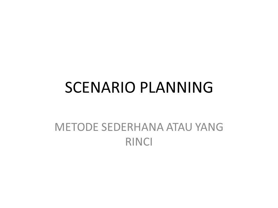 Berbagai variasi pentahapan perencanaan skenario.