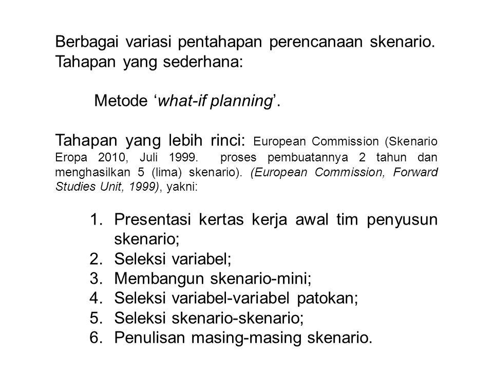 Penyusunan IMD 2010, Komnas HAM Indonesia dengan bantuan berbagai LSM/Yayasan/Kedutaan Besar, proses tahapan perencanaan skenario (sembilan tahap), yakni: 1.Menentukan pihak yang dilibatkan; 2.Menetapkan FC (focal concern); 3.Mengidentifikasi DF (driving forces); 4.Menganalisis hubungan antar DF; 5.Memilih 'critical DFs' 6.Menyusun matrik kemungkinan; 7.Menjabarkan ciri tiap kemungkinan; 8.Menyusun narasi skenario; dan 9.Mengkomunikasikan skenario.