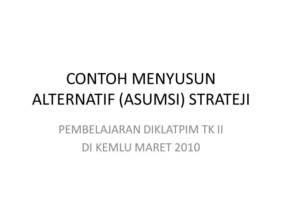 CONTOH MENYUSUN ALTERNATIF (ASUMSI) STRATEJI PEMBELAJARAN DIKLATPIM TK II DI KEMLU MARET 2010