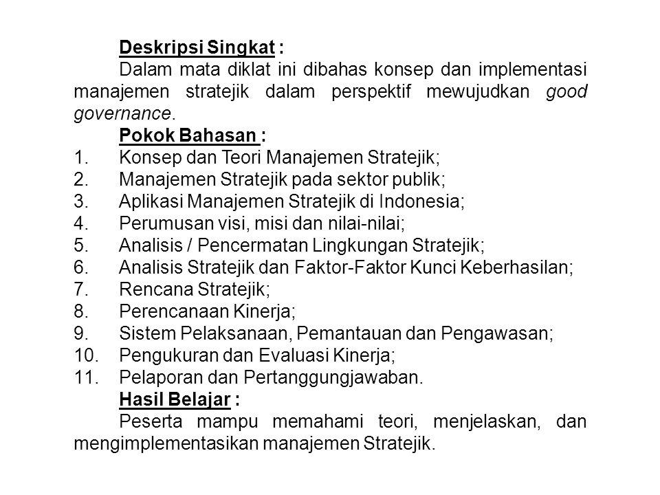Deskripsi Singkat : Dalam mata diklat ini dibahas konsep dan implementasi manajemen stratejik dalam perspektif mewujudkan good governance.