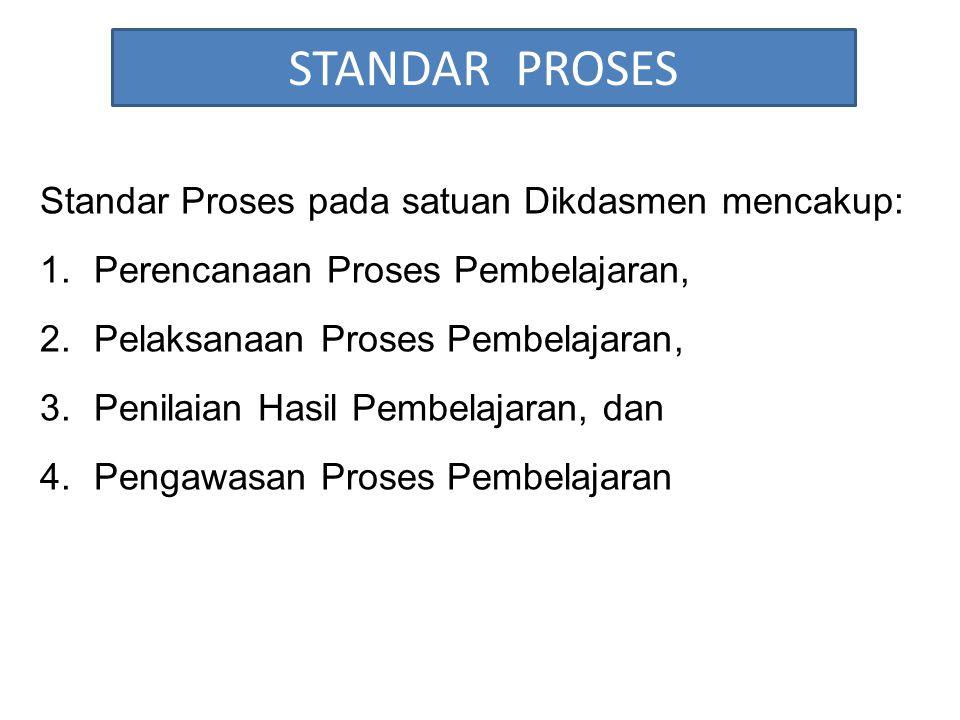 STANDAR PROSES Standar Proses pada satuan Dikdasmen mencakup: 1.Perencanaan Proses Pembelajaran, 2.Pelaksanaan Proses Pembelajaran, 3.Penilaian Hasil