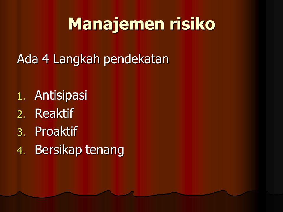 Manajemen risiko Ada 4 Langkah pendekatan 1. Antisipasi 2. Reaktif 3. Proaktif 4. Bersikap tenang
