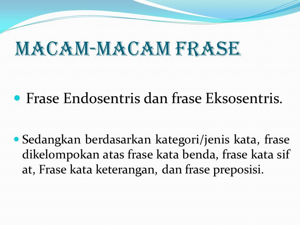 MACAM-MACAM FRASE Frase Endosentris dan frase Eksosentris. Sedangkan berdasarkan kategori/jenis kata, frase dikelompokan atas frase kata benda, frase