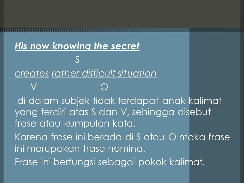 His now knowing the secret S creates rather difficult situation V O di dalam subjek tidak terdapat anak kalimat yang terdiri atas S dan V, sehingga disebut frase atau kumpulan kata.