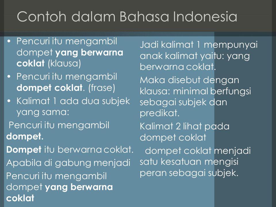 Contoh dalam Bahasa Indonesia Pencuri itu mengambil dompet yang berwarna coklat (klausa) Pencuri itu mengambil dompet coklat.