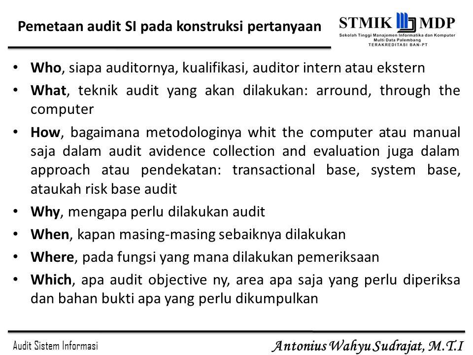 Audit Sistem Informasi Antonius Wahyu Sudrajat, M.T.I Pemetaan audit SI pada konstruksi pertanyaan Who, siapa auditornya, kualifikasi, auditor intern