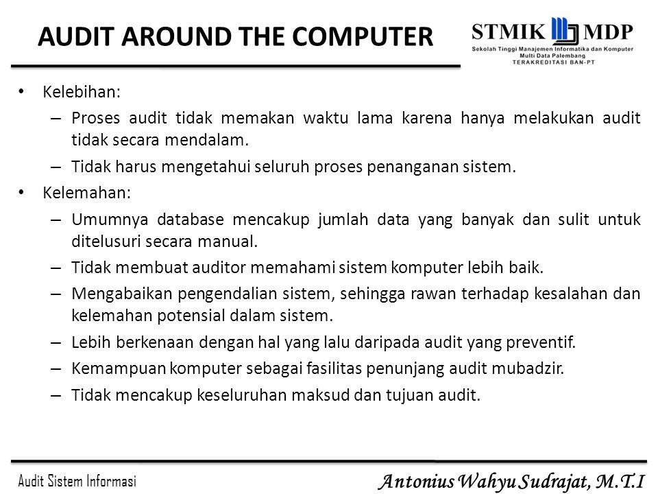 Audit Sistem Informasi Antonius Wahyu Sudrajat, M.T.I AUDIT AROUND THE COMPUTER Kelebihan: – Proses audit tidak memakan waktu lama karena hanya melaku
