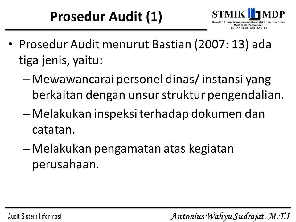 Audit Sistem Informasi Antonius Wahyu Sudrajat, M.T.I Prosedur Audit (1) Prosedur Audit menurut Bastian (2007: 13) ada tiga jenis, yaitu: – Mewawancar