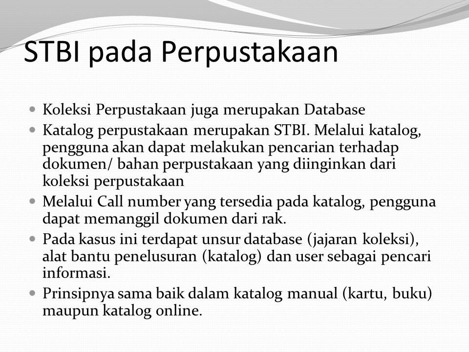 STBI pada Perpustakaan Koleksi Perpustakaan juga merupakan Database Katalog perpustakaan merupakan STBI. Melalui katalog, pengguna akan dapat melakuka