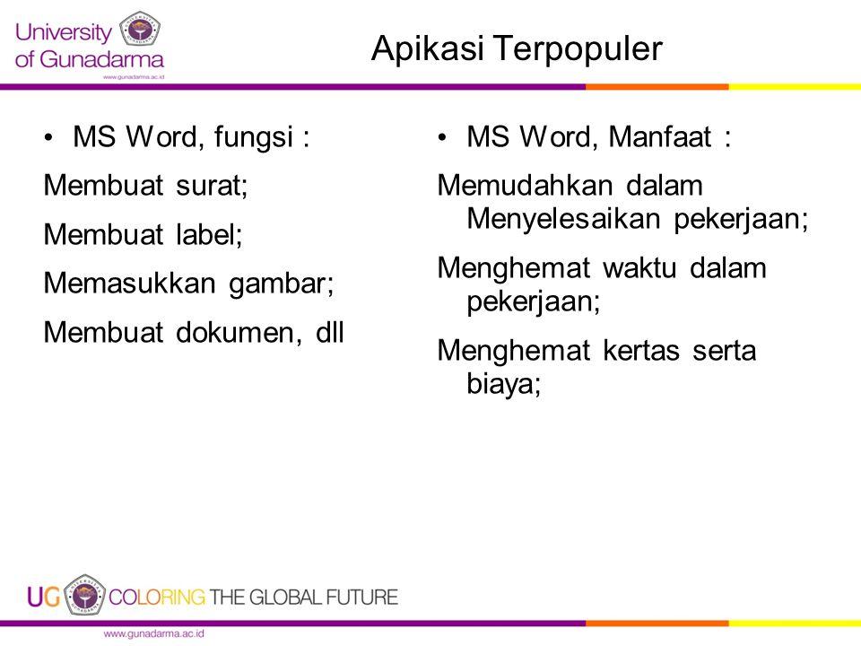 Apikasi Terpopuler MS Word, fungsi : Membuat surat; Membuat label; Memasukkan gambar; Membuat dokumen, dll MS Word, Manfaat : Memudahkan dalam Menyelesaikan pekerjaan; Menghemat waktu dalam pekerjaan; Menghemat kertas serta biaya;