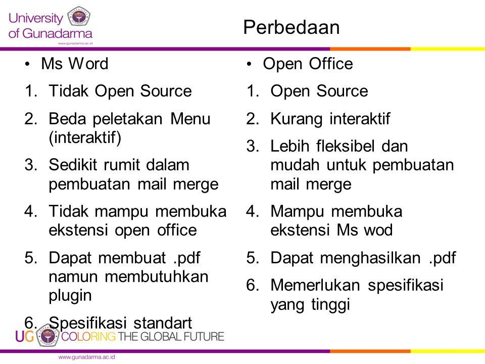 Perbedaan Ms Word 1.Tidak Open Source 2.Beda peletakan Menu (interaktif) 3.Sedikit rumit dalam pembuatan mail merge 4.Tidak mampu membuka ekstensi open office 5.Dapat membuat.pdf namun membutuhkan plugin 6.Spesifikasi standart Open Office 1.Open Source 2.Kurang interaktif 3.Lebih fleksibel dan mudah untuk pembuatan mail merge 4.Mampu membuka ekstensi Ms wod 5.Dapat menghasilkan.pdf 6.Memerlukan spesifikasi yang tinggi