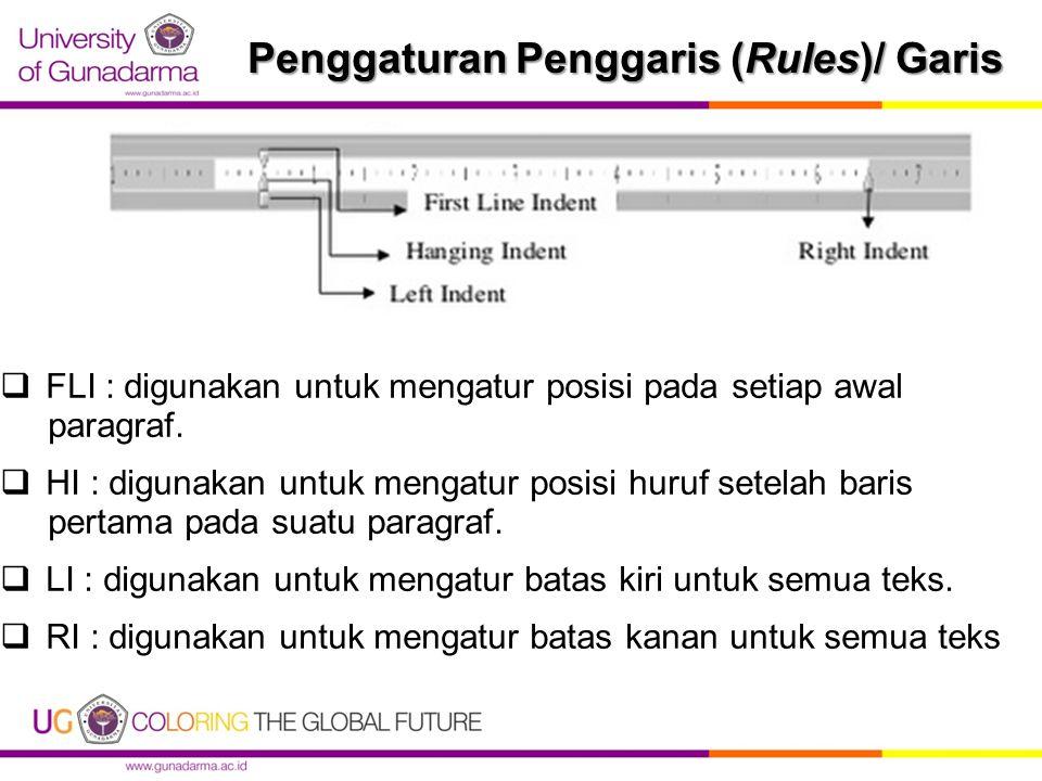 Penggaturan Penggaris (Rules)/ Garis  FLI : digunakan untuk mengatur posisi pada setiap awal paragraf.