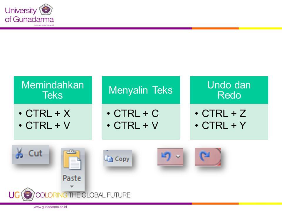 Memindahkan Teks CTRL + X CTRL + V Menyalin Teks CTRL + C CTRL + V Undo dan Redo CTRL + Z CTRL + Y