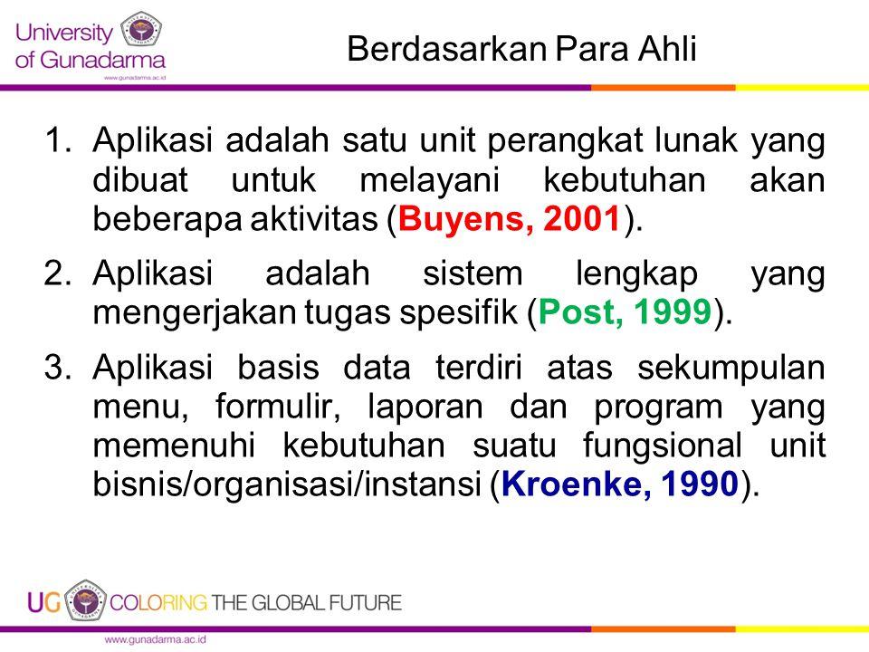 Berdasarkan Para Ahli 1.Aplikasi adalah satu unit perangkat lunak yang dibuat untuk melayani kebutuhan akan beberapa aktivitas (Buyens, 2001).
