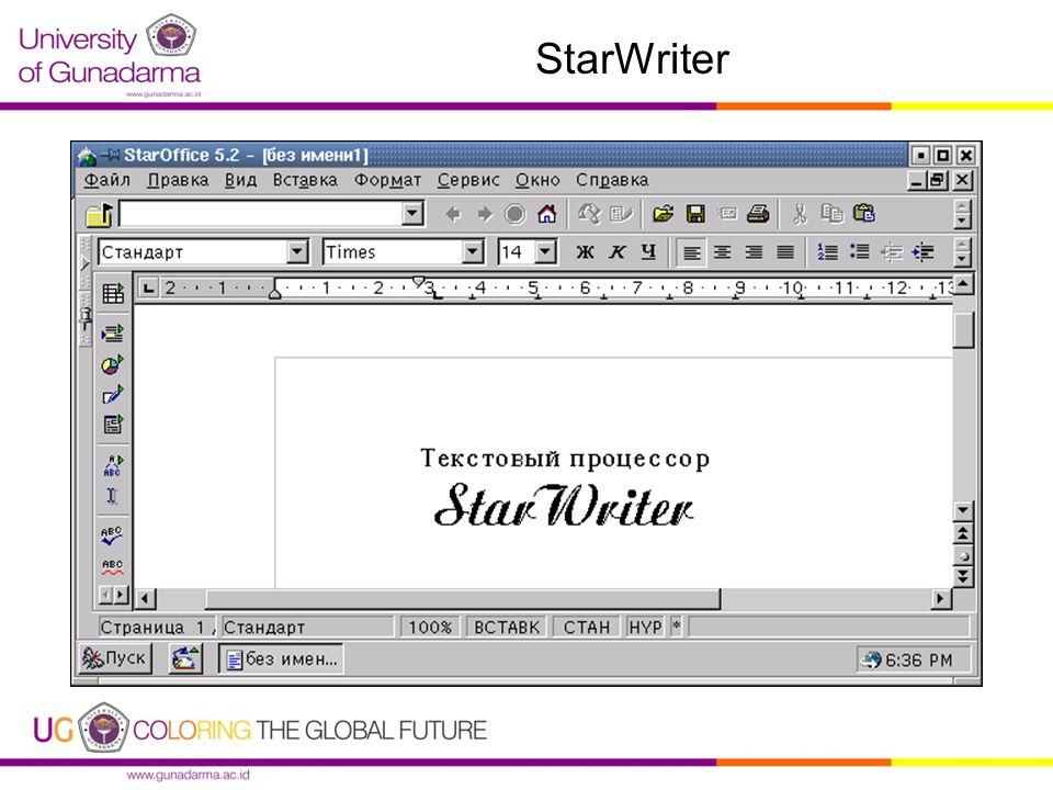 StarWriter (.sxw) Keunggulan : 1.Open Source 2.Adanya penggunaan Style Numbering, AutoFormat, Spelling Checker dengan multi bahasa dan kamus yang bisa disetting sendiri.