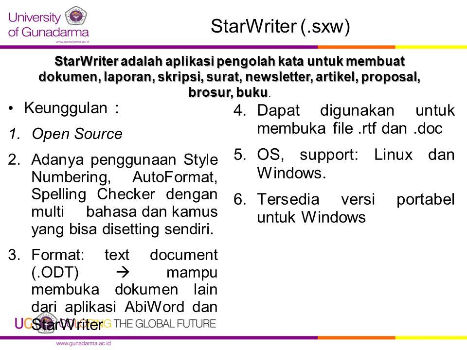 Fasilitas Star Writer 1.AutoCorrect 2.AutoComplete: memberikan alternatif/suggesti kata-kata dan frase yang biasa digunakan untuk melengkapi apa-apa yang anda ketikkan 3.AutoFormat: menyempurnakan format seperti yang anda tuliskan.