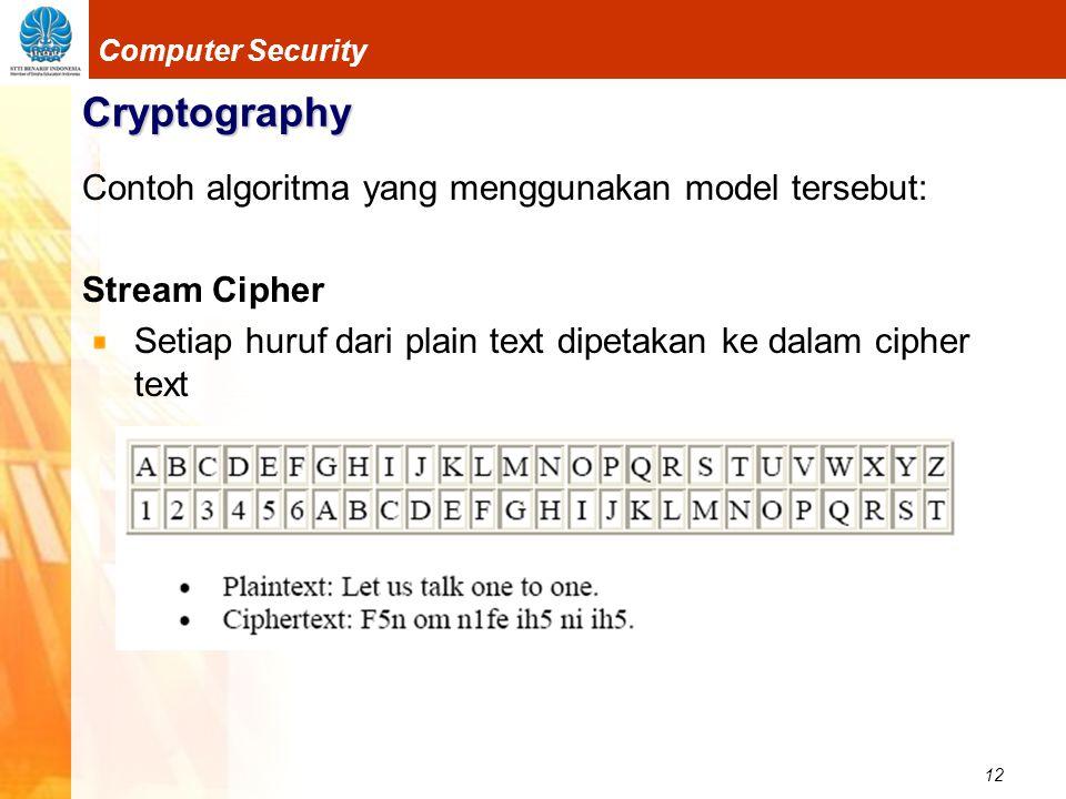12 Computer Security Cryptography Contoh algoritma yang menggunakan model tersebut: Stream Cipher Setiap huruf dari plain text dipetakan ke dalam ciph