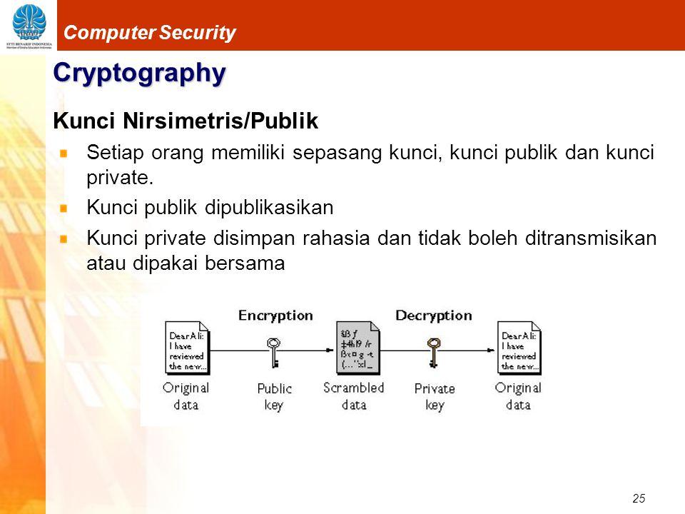 25 Computer Security Cryptography Kunci Nirsimetris/Publik Setiap orang memiliki sepasang kunci, kunci publik dan kunci private. Kunci publik dipublik