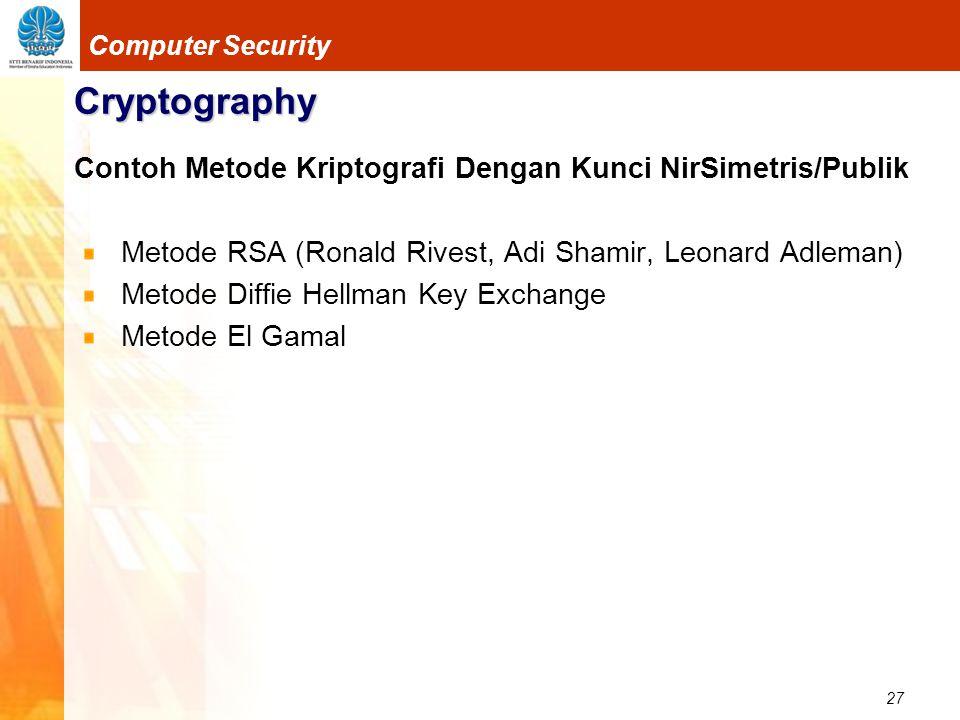27 Computer Security Cryptography Contoh Metode Kriptografi Dengan Kunci NirSimetris/Publik Metode RSA (Ronald Rivest, Adi Shamir, Leonard Adleman) Me