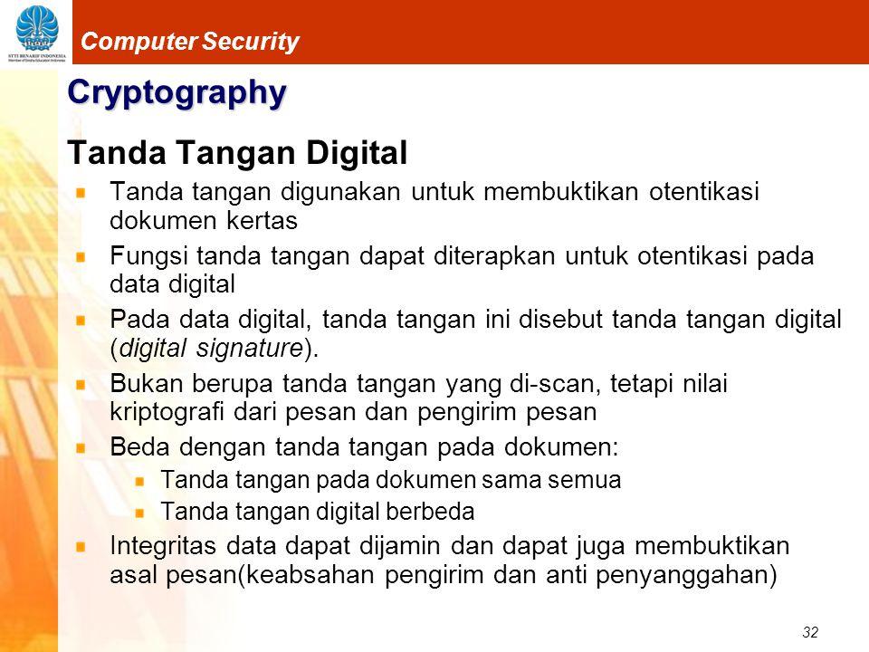 32 Computer Security Cryptography Tanda Tangan Digital Tanda tangan digunakan untuk membuktikan otentikasi dokumen kertas Fungsi tanda tangan dapat di