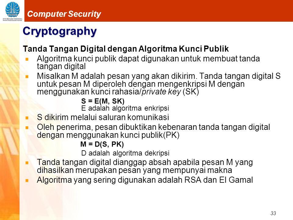 33 Computer Security Cryptography Tanda Tangan Digital dengan Algoritma Kunci Publik Algoritma kunci publik dapat digunakan untuk membuat tanda tangan