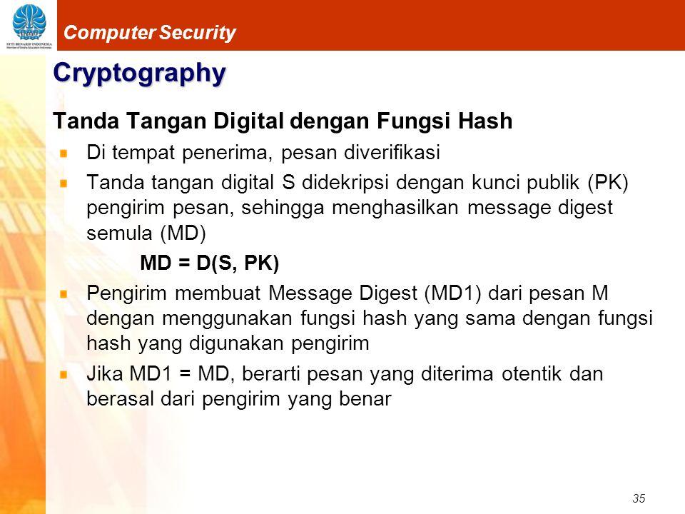 35 Computer Security Cryptography Tanda Tangan Digital dengan Fungsi Hash Di tempat penerima, pesan diverifikasi Tanda tangan digital S didekripsi den