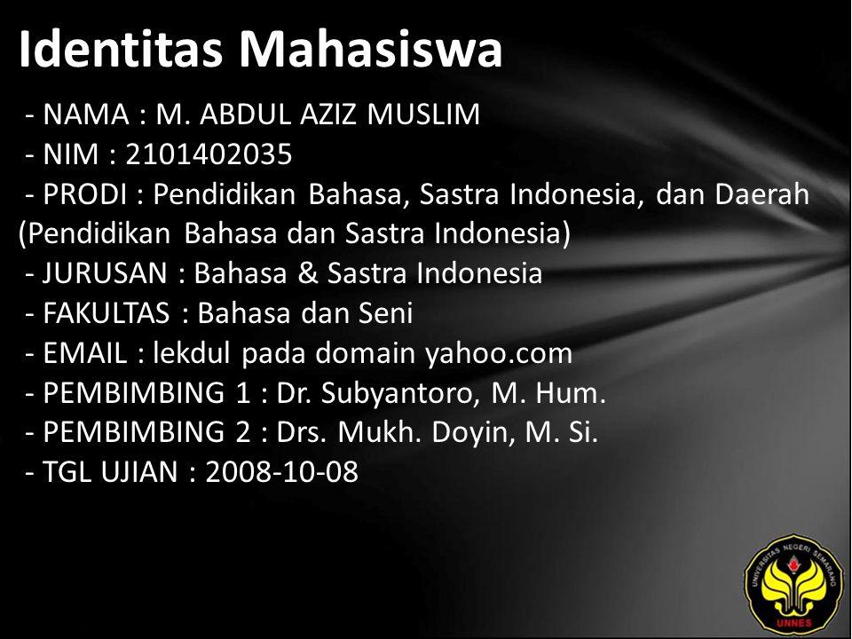 Identitas Mahasiswa - NAMA : M. ABDUL AZIZ MUSLIM - NIM : 2101402035 - PRODI : Pendidikan Bahasa, Sastra Indonesia, dan Daerah (Pendidikan Bahasa dan