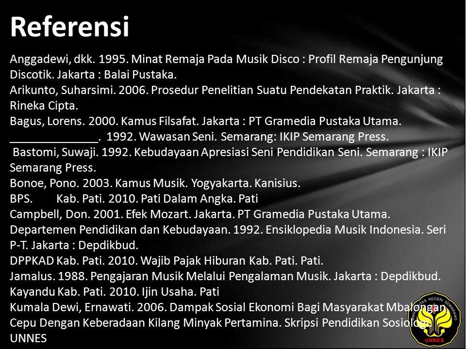 Referensi Anggadewi, dkk. 1995. Minat Remaja Pada Musik Disco : Profil Remaja Pengunjung Discotik.