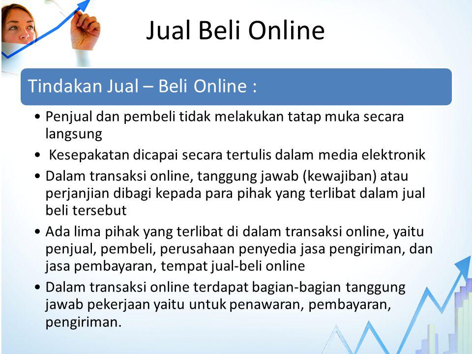 Jual Beli Online Tindakan Jual – Beli Online : Penjual dan pembeli tidak melakukan tatap muka secara langsung Kesepakatan dicapai secara tertulis dala