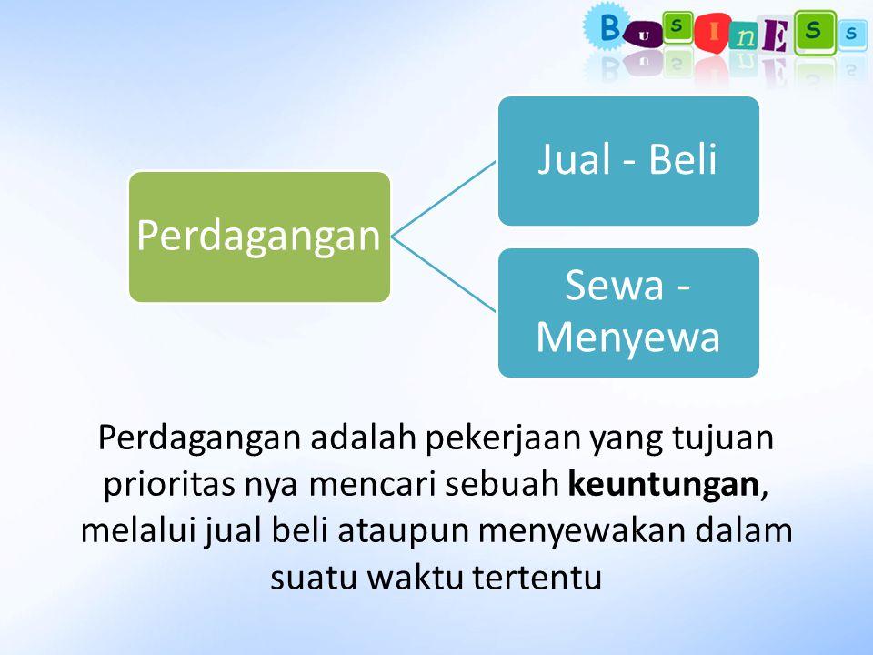 Perdagangan adalah pekerjaan yang tujuan prioritas nya mencari sebuah keuntungan, melalui jual beli ataupun menyewakan dalam suatu waktu tertentu Perd
