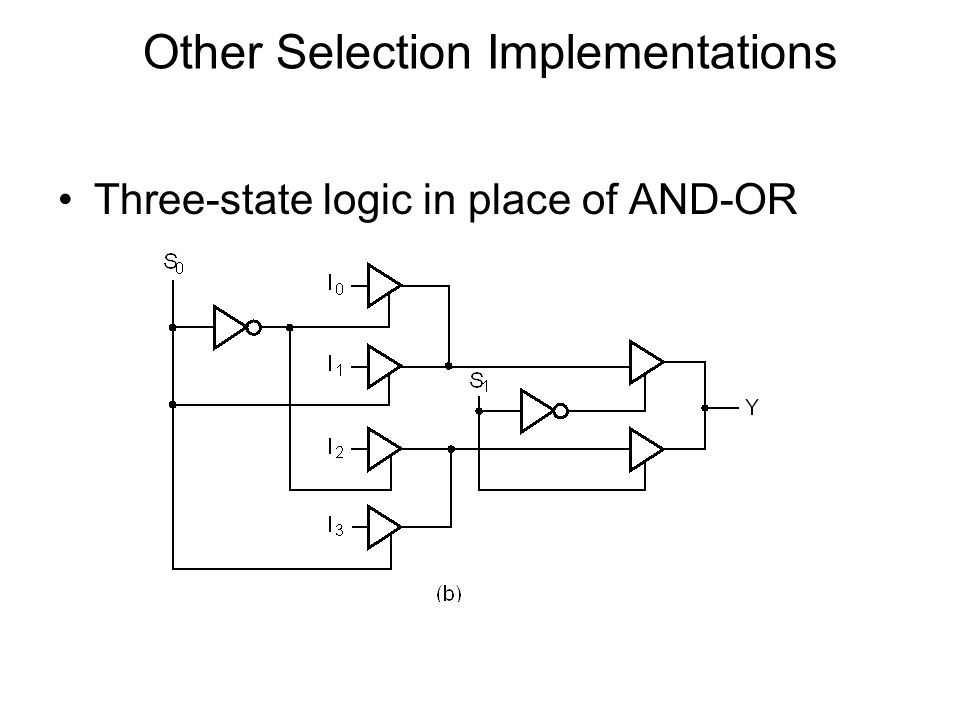 Other Selection Implementations Three-state logic in place of AND-OR