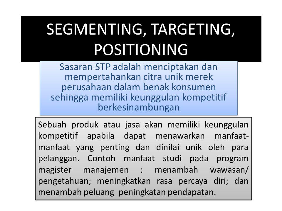SEGMENTING, TARGETING, POSITIONING Sasaran STP adalah menciptakan dan mempertahankan citra unik merek perusahaan dalam benak konsumen sehingga memilik
