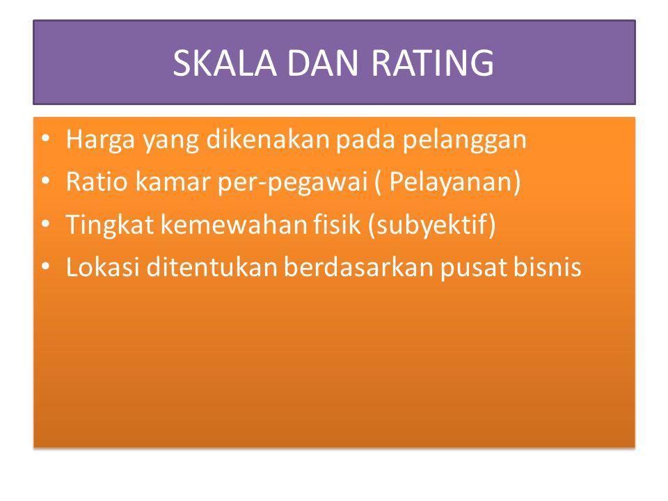 SKALA DAN RATING Harga yang dikenakan pada pelanggan Ratio kamar per-pegawai ( Pelayanan) Tingkat kemewahan fisik (subyektif) Lokasi ditentukan berdas