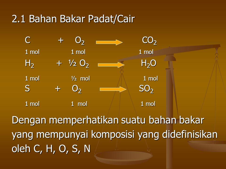 2.1 Bahan Bakar Padat/Cair Dengan memperhatikan suatu bahan bakar yang mempunyai komposisi yang didefinisikan oleh C, H, O, S, N C + O 2 CO 2 1 mol 1