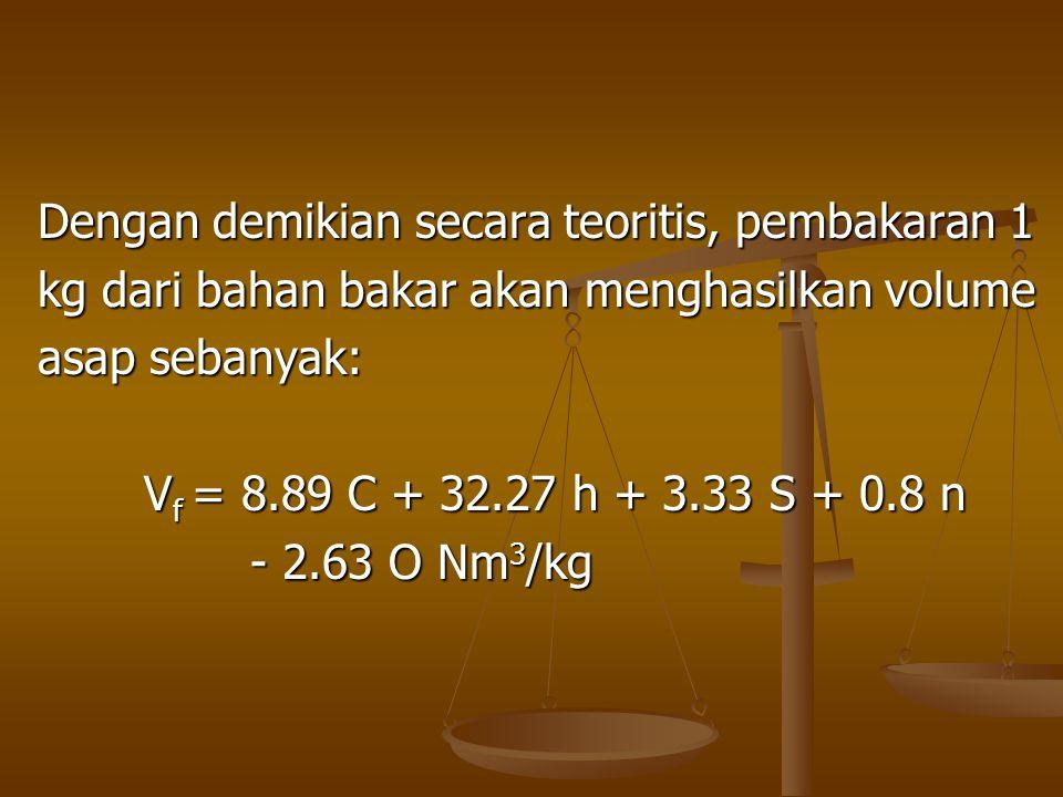 Dengan demikian secara teoritis, pembakaran 1 kg dari bahan bakar akan menghasilkan volume asap sebanyak: V f = 8.89 C + 32.27 h + 3.33 S + 0.8 n - 2.