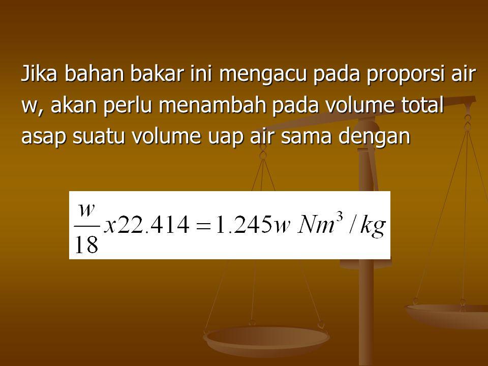 Jika bahan bakar ini mengacu pada proporsi air w, akan perlu menambah pada volume total asap suatu volume uap air sama dengan