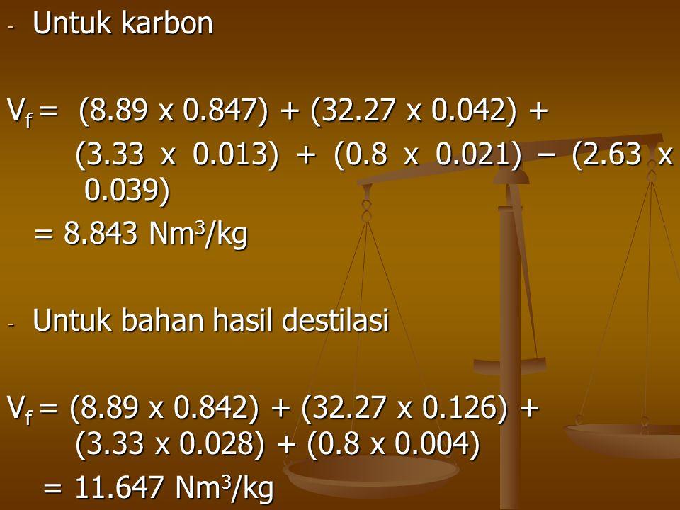 - Untuk karbon V f = (8.89 x 0.847) + (32.27 x 0.042) + (3.33 x 0.013) + (0.8 x 0.021) – (2.63 x 0.039) = 8.843 Nm 3 /kg - Untuk bahan hasil destilasi