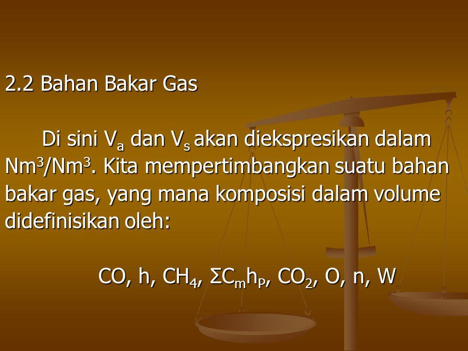 2.2 Bahan Bakar Gas Di sini V a dan V s akan diekspresikan dalam Di sini V a dan V s akan diekspresikan dalam Nm 3 /Nm 3. Kita mempertimbangkan suatu