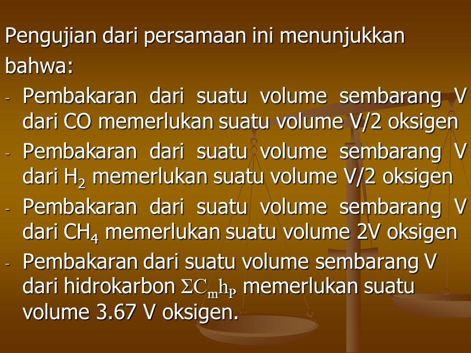 Pengujian dari persamaan ini menunjukkan bahwa: - Pembakaran dari suatu volume sembarang V dari CO memerlukan suatu volume V/2 oksigen - Pembakaran da