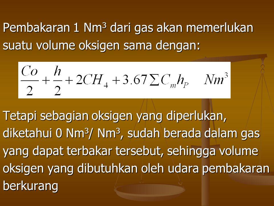 Pembakaran 1 Nm 3 dari gas akan memerlukan suatu volume oksigen sama dengan: Tetapi sebagian oksigen yang diperlukan, diketahui 0 Nm 3 / Nm 3, sudah b