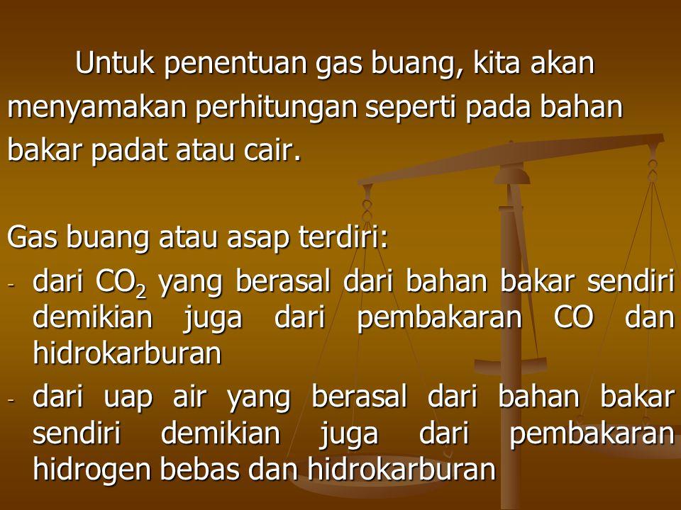 Untuk penentuan gas buang, kita akan menyamakan perhitungan seperti pada bahan bakar padat atau cair. Gas buang atau asap terdiri: - dari CO 2 yang be