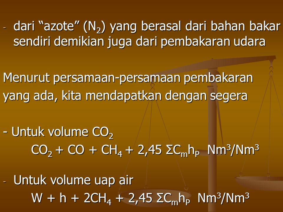 """- dari """"azote"""" (N 2 ) yang berasal dari bahan bakar sendiri demikian juga dari pembakaran udara Menurut persamaan-persamaan pembakaran yang ada, kita"""