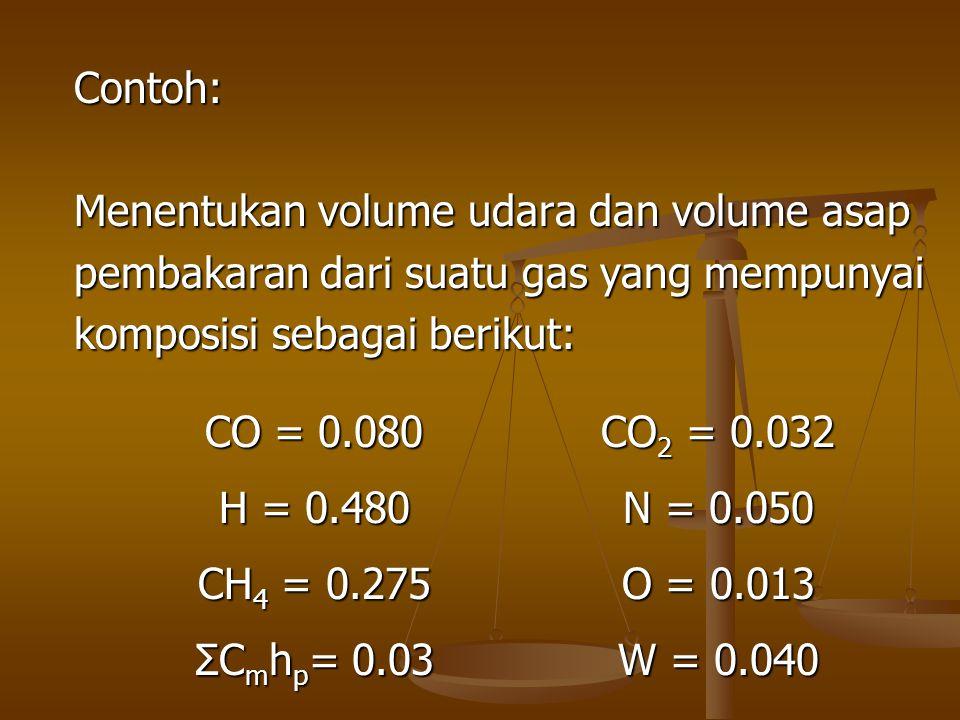 Contoh: Menentukan volume udara dan volume asap pembakaran dari suatu gas yang mempunyai komposisi sebagai berikut: CO = 0.080 CO 2 = 0.032 H = 0.480