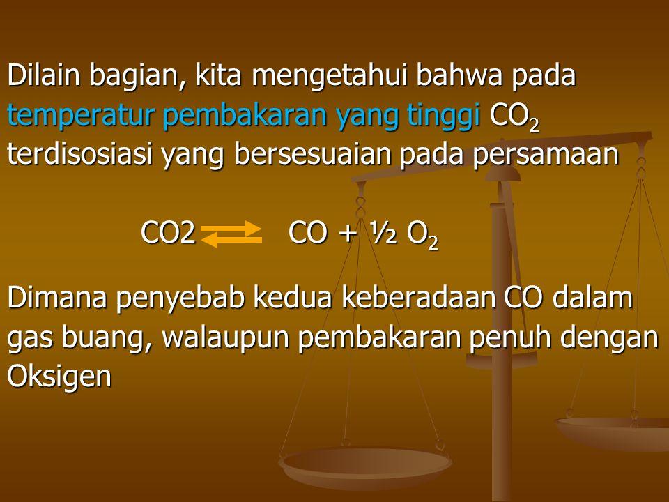 Dilain bagian, kita mengetahui bahwa pada temperatur pembakaran yang tinggi CO 2 terdisosiasi yang bersesuaian pada persamaan CO2 CO + ½ O 2 Dimana pe